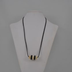 Black Suede Cord Round Cream Disks Necklace