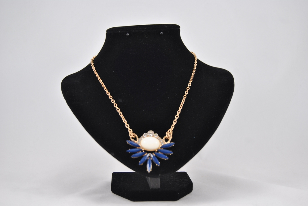 White Blue Medallion Gold Chain Necklace