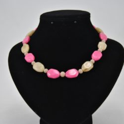 Pink Beige Oval Acrylic Beads Necklace