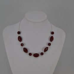 Burgundy Beads Silver Chain Necklace