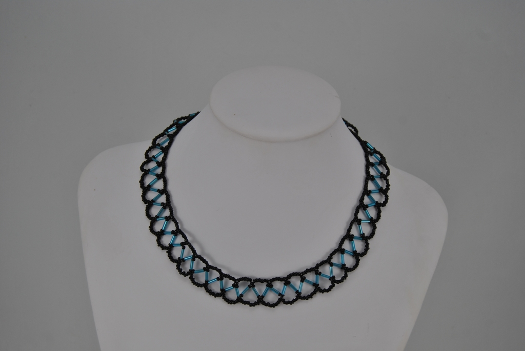 Blue Bugle Beads Lattice Design Choker Necklace