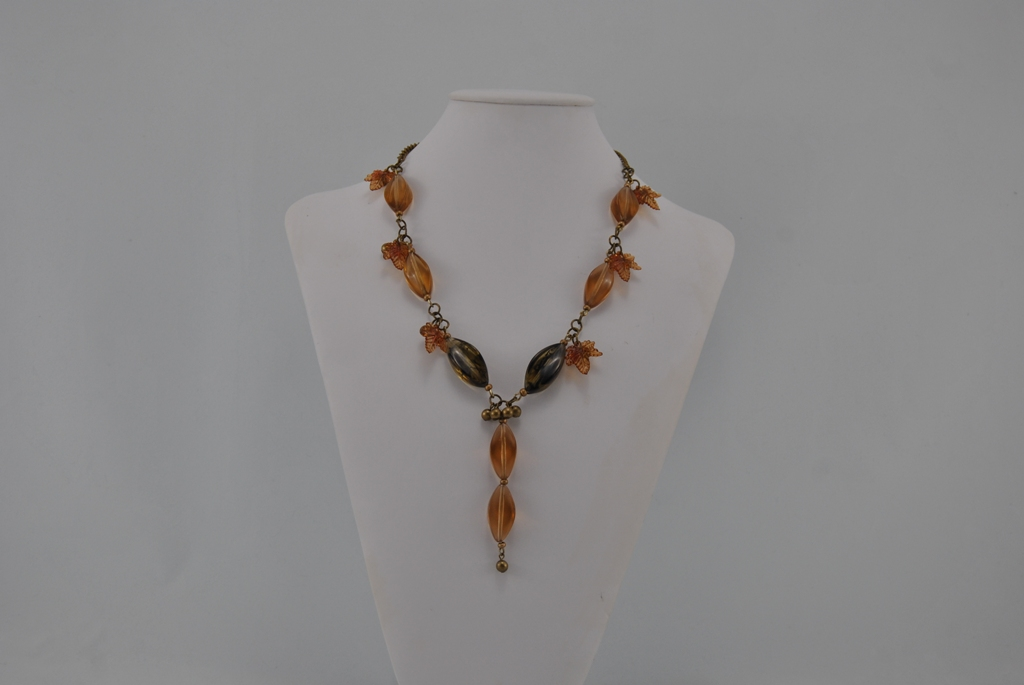 Bronze Chain Linked Amber Beads Necklace