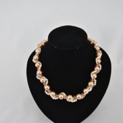 Pale Coffee Cream Pearls Interlinked Necklace