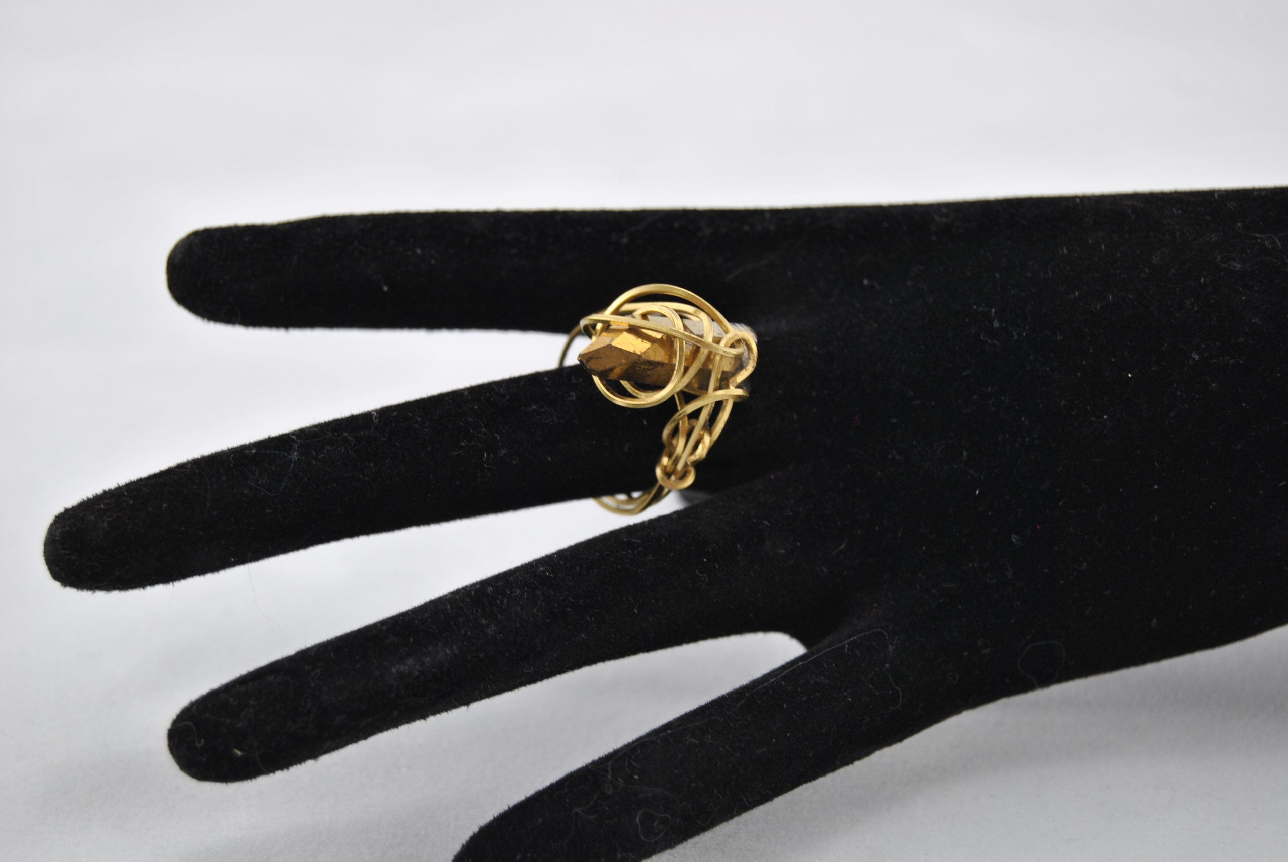 Gold Wire Wrapped Golden Nugget Ring
