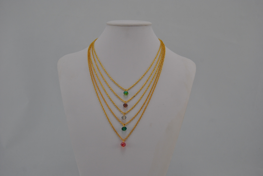 Five Gold Chains Dangles Necklace