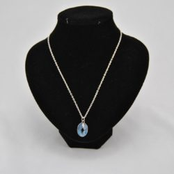 Faceted Blue Silver Oval Pendant Silver Chain Necklace