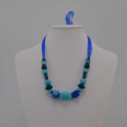 Blue Wooden Beads Organza Ribbon Necklace