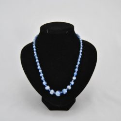 Mixed Sizes Blue Silver Beads Blue Seed Beads Necklace
