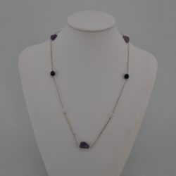 Silver Chain Amethyst Nuggets Necklace