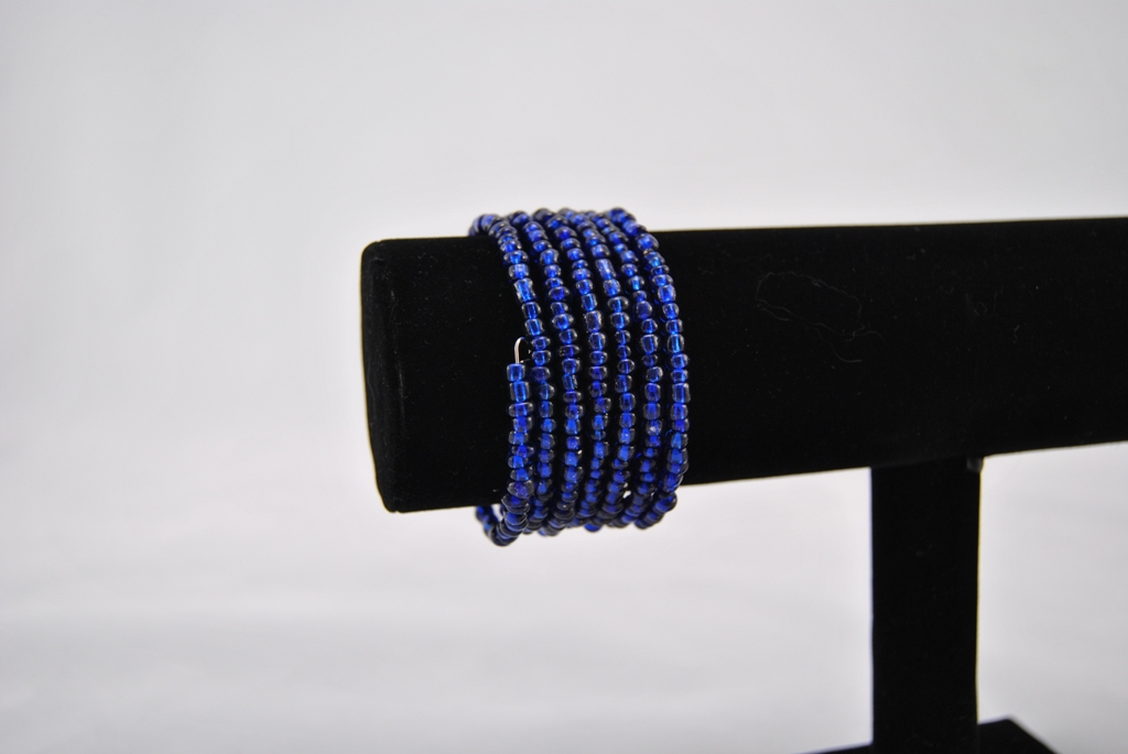 Large Dark Blue Beads Memory Wire Bracelet