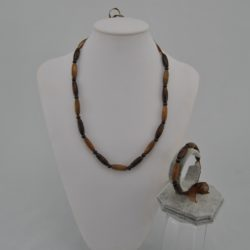 Brown Wooden Beads Chocolate Organza Ribbon Necklace Bracelet Set