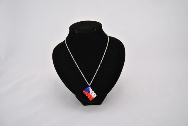 Silver Chain Blue Red White Duo Beads Pendant Necklace