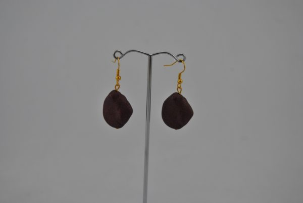 Brown Offset Oval Bead Ear Rings
