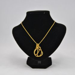 Gold Wire Oval Abstract Free Form Pendant Necklace