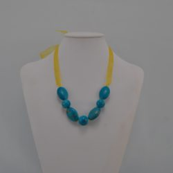 Blue Acrylic Beads Organza Ribbon Necklace