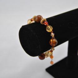 Mixed Brown Golden Beads Gold Memory Wire Bracelet