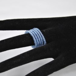 Pale Blue Seed Bead Memory Wire Ring