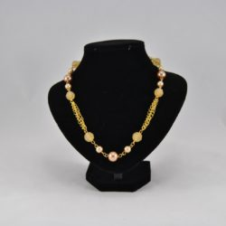 Gold Chain Linked Pale Coffee Beads Necklace