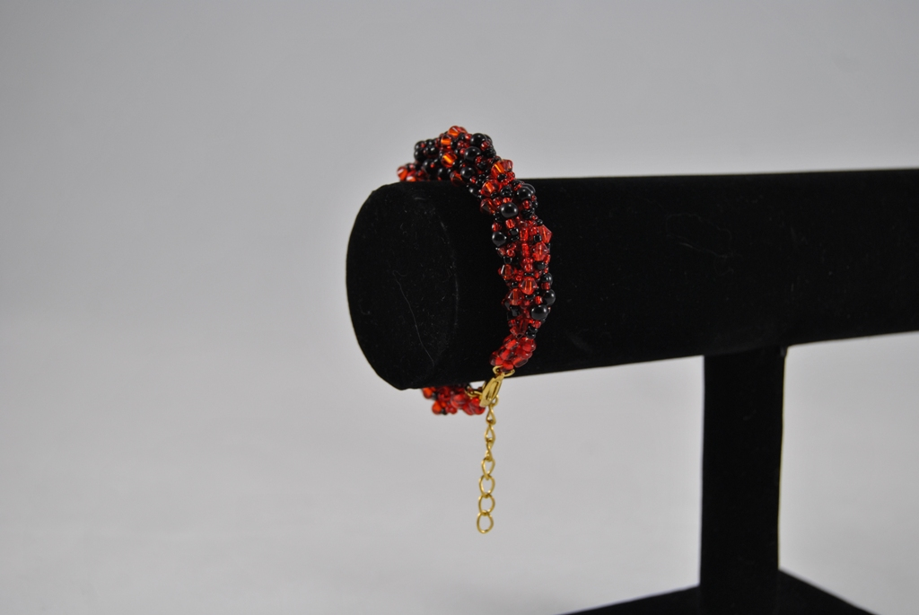 Black Orange Double Spiral Bracelet