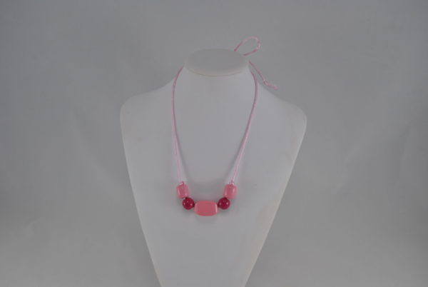 Pale Pink Cord Pink Wooden Beads Necklace