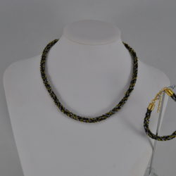 Black Gold Silver Spiral Kumihimo Necklace Bracelet Set