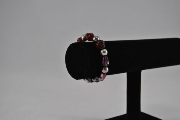 Purple Silver Large Mixed Beads Memory Wire Bracelet