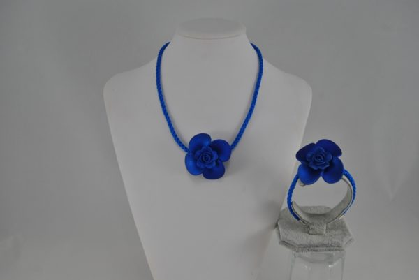 Blue Cord Blue Flower Choker Necklace Bracelet Set