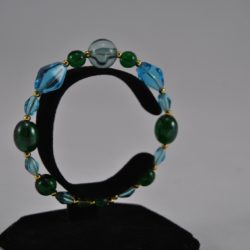 Mixed Blue Green Beads Memory Wire Bracelet
