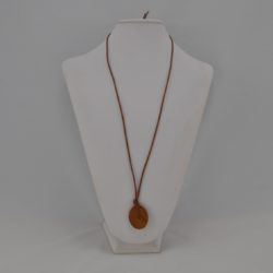 Acrylic Tan Disk Tan Leather Cord Necklace