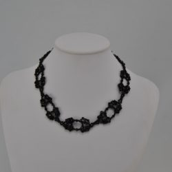 Black Bi-cones Black Seed Beads Choker Necklace
