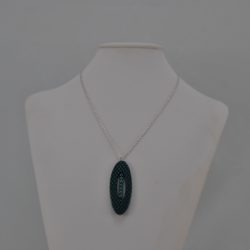 Oval Blue Black Acrylic Pendant Necklace