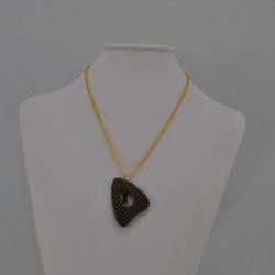 Gold Black Triangular Pendant Gold Chain Necklace