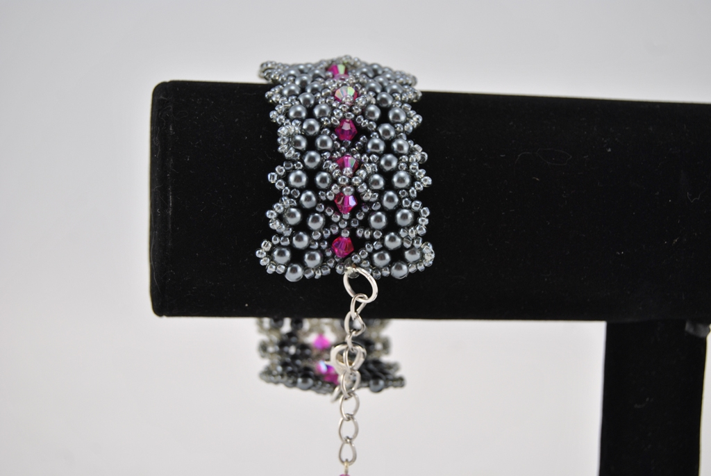 Gray Seed Beads Gray Pearls Rose Bi