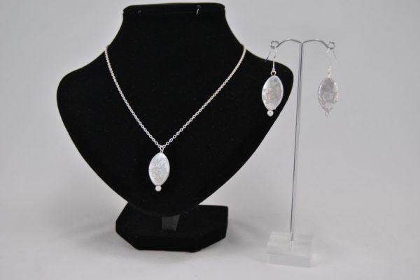 Silver Oval Beads Necklace Ear Rings