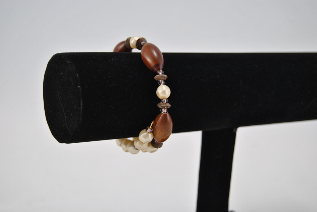 Mixed Brown Cream Beads Gold Memory Wire Bracelet
