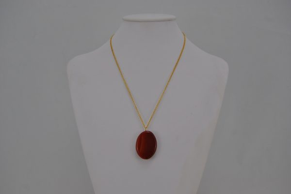Caramel Oval Banded Agate Pendant Gold Chain Necklace