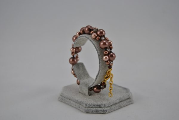 Coffee Pearls Chocolate Seed Bead Zigzag Bracelet