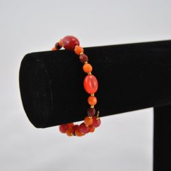 Mixed Orange Pink Beads Gold Memory Wire Bracelet