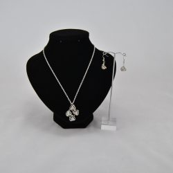 Silver Chain Diamante Pendant Necklace Ear Rings