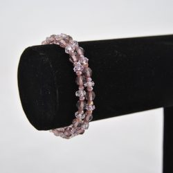 Lavender Acrylic Beads Memory Wire Bracelet