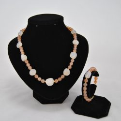 Cream Agate Nuggets Peach Beads Necklace Bracelet