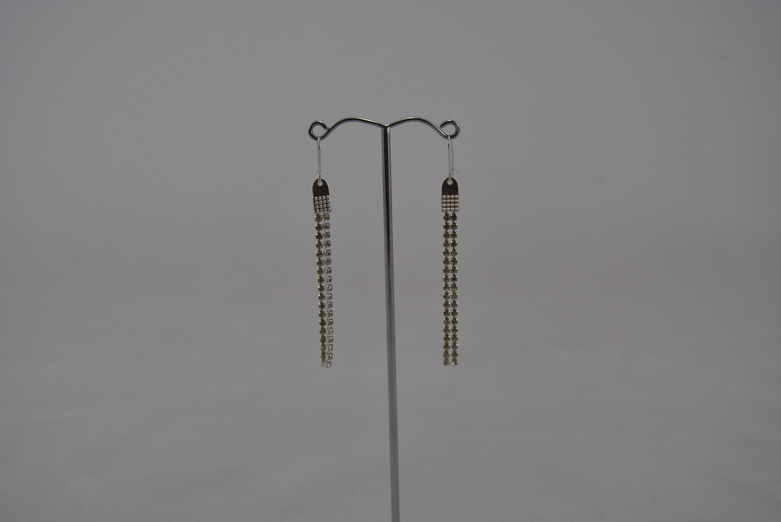 Two Silver Cup Chains Drop Ear Rings