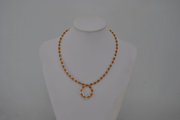 Amber Beads Crystal Tube Beads Necklace