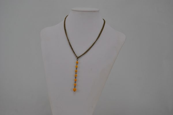 Bronze Chain Yellow Beads Dangle Necklace