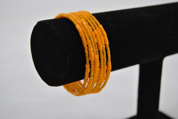 Yellow Seed Beads Memory Wire Bracelet