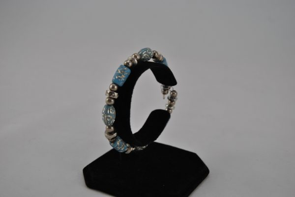 Mixed Silver Blue Beads Memory Wire Bracelet