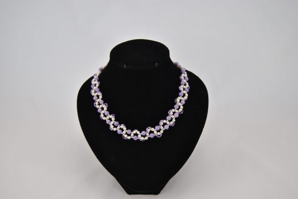 Cream Pearls Lilac Riverstone Beads Loops Necklace