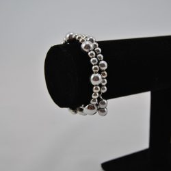 Silver Large Small Mixed Beads Memory Wire Bracelet